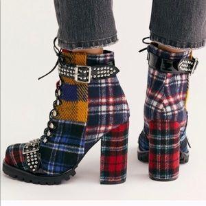 Jeffrey Campbell Lilith 2 plaid platform shoes 10